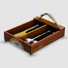Load image into Gallery viewer, 'Woody Hues' Warli Hand-Painted Sheesham Wood Cutlery Holder With Dhokra Handle