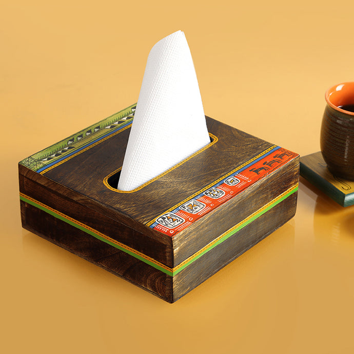 'Woody Hues' Warli Hand-Painted Napkin Holder