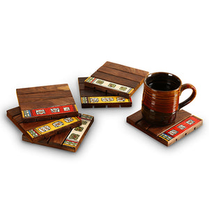 'Border Line Tribal' Warli Hand-Painted Coasters In Sheesham Wood (Set Of 6)