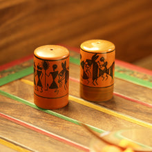 Load image into Gallery viewer, 'Dancers On Shakers' Warli Hand-Painted Salt & Pepper Holders In Ceramic