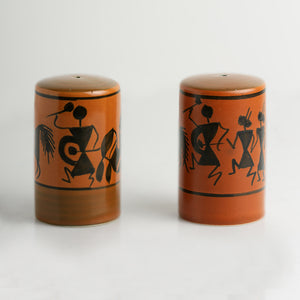 'Dancers On Shakers' Warli Hand-Painted Salt & Pepper Holders In Ceramic