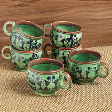 Load image into Gallery viewer, 'Get-Togethers In Green' Warli Hand-Painted Tea & Coffee Cups In Ceramic (Set Of 6)
