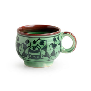 'Get-Togethers In Green' Warli Hand-Painted Tea & Coffee Cups In Ceramic (Set Of 6)