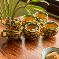 'Celebration In Sand' Warli Hand-Painted Tea & Coffee Cups In Ceramic (Set Of 6)