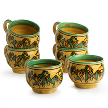 Load image into Gallery viewer, 'Celebration In Sand' Warli Hand-Painted Tea & Coffee Cups In Ceramic (Set Of 6)