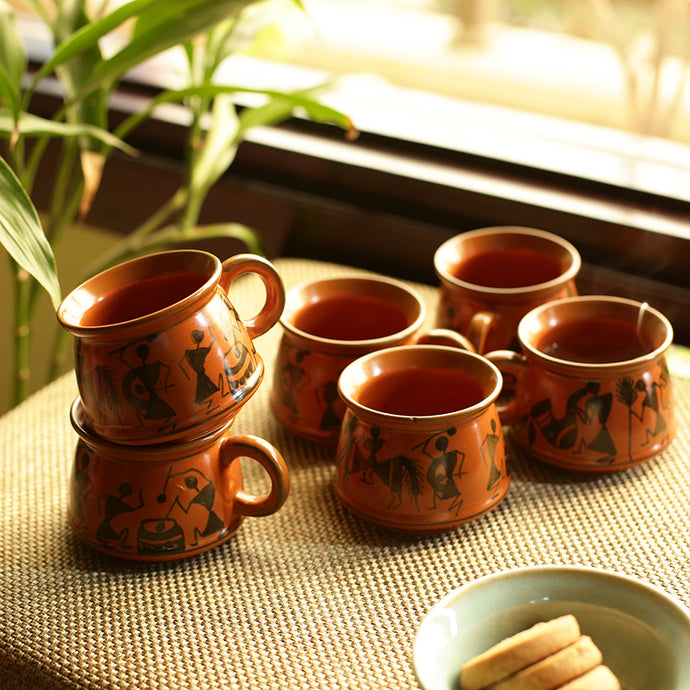 'Rejoice In Red-Mud' Warli Hand-Painted Tea & Coffee Cups In Ceramic (Set Of 6)