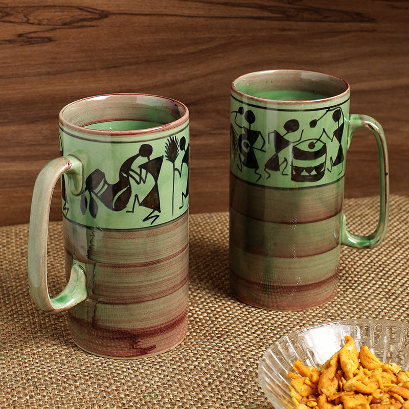 'Two To Tango' Warli Hand-Painted Beer & Milk Mugs In Ceramic (Set Of 2)