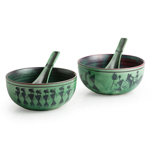 'Bowl Dancing' Warli Hand-Painted Soup Dishes With Spoons In Ceramic (Set Of 2)