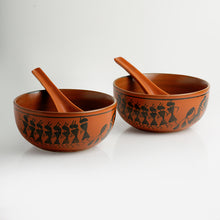 Load image into Gallery viewer, 'Bowl Dancing' Warli Hand-Painted Soup Dishes With Spoons In Ceramic (Set Of 2)