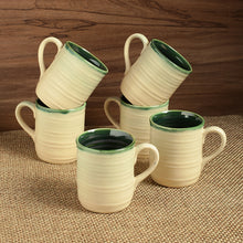 Load image into Gallery viewer, 'Jade Translucence' Studio Pottery Glazed Tea & Coffee Cups In Ceramic (Set Of 6)