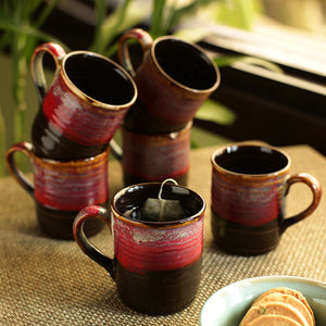 'Crimson Nightfalls' Studio Pottery Glazed Tea & Coffee Cups In Ceramic (Set Of 6)