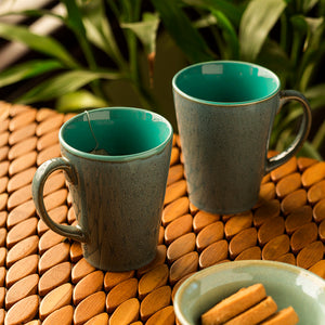 'Blues Of Sky' Studio Pottery Glazed Coffee Mugs In Ceramic (Set Of 2)