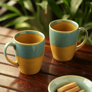 'River Rims' Studio Pottery Glazed Coffee Mugs In Ceramic (Set Of 2)