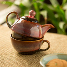Load image into Gallery viewer, 'Kettle-Cup Of Maroon Dusk' Studio Pottery Glazed Tea Set In Ceramic