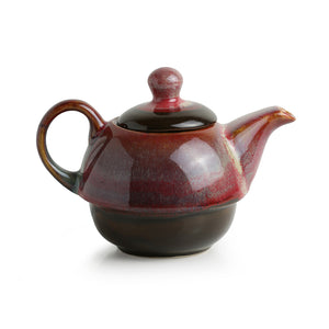'Kettle-Cup Of Maroon Dusk' Studio Pottery Glazed Tea Set In Ceramic
