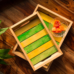 'Spring for Two' Handcrafted Multicoloured Wooden Serving Trays (Set Of 2)