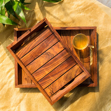Load image into Gallery viewer, 'Classic Wood Pair' Handcrafted Serving Trays In Sheesham Wood (Set Of 2)