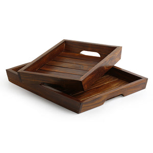 'Classic Wood Pair' Handcrafted Serving Trays In Sheesham Wood (Set Of 2)