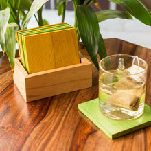 Load image into Gallery viewer, 'Colours in a Box' Handcrafted Multicoloured Wooden Coasters Set With Stand (Set Of 6)
