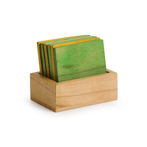 'Colours in a Box' Handcrafted Multicoloured Wooden Coasters Set With Stand (Set Of 6)