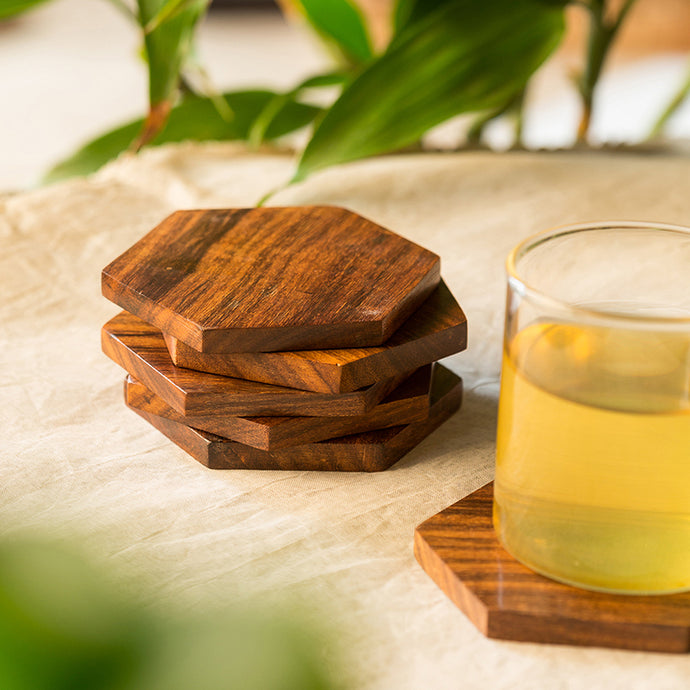 'Six Cornered Spring' Handcrafted Coasters In Sheesham Wood (Set Of 6)