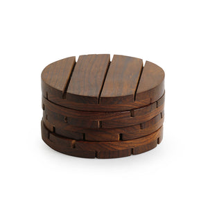 'Wood-rounds' Handcrafted Coasters In Sheesham Wood (Set Of 4)