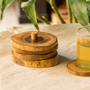 'Stack-Circles of Wood' Log Handcrafted Coasters With Stand (Set Of 4)