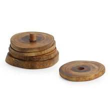 Load image into Gallery viewer, 'Stack-Circles of Wood' Log Handcrafted Coasters With Stand (Set Of 4)