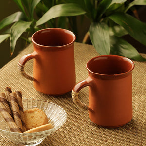 'Glazed in Romance' Handmade Studio Pottery Tea & Coffee Mugs In Terracotta & Cane (Set Of 2)