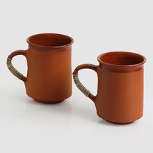Load image into Gallery viewer, 'Glazed in Romance' Handmade Studio Pottery Tea & Coffee Mugs In Terracotta & Cane (Set Of 2)