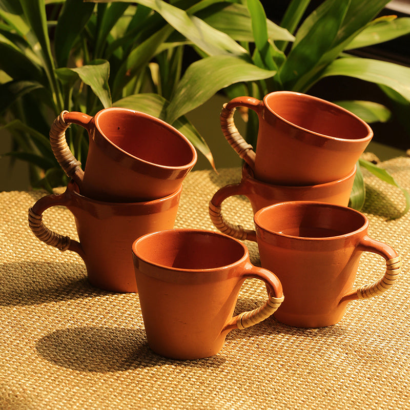 Tea & Coffee 'Love in Cone-Cuppas' Handmade Studio Pottery In Terracotta & Cane (Set Of 6)