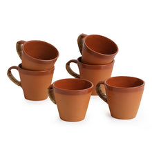 Load image into Gallery viewer, Tea & Coffee 'Love in Cone-Cuppas' Handmade Studio Pottery In Terracotta & Cane (Set Of 6)