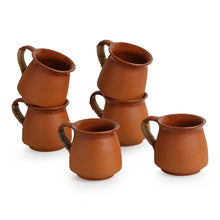 Load image into Gallery viewer, 'Six Pot-Belly Cuppas' Handmade Studio Pottery Tea & Coffee Cups In Terracotta & Cane (Set Of 6)