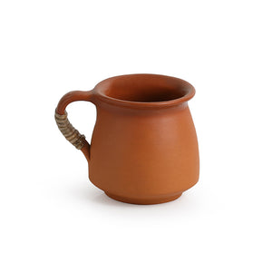 'Six Pot-Belly Cuppas' Handmade Studio Pottery Tea & Coffee Cups In Terracotta & Cane (Set Of 6)