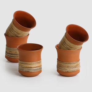 Tea & Coffee 'Terra-Cane Kulhads' Handmade Studio Pottery Kulhads In Terracotta & Cane (Set Of 5)