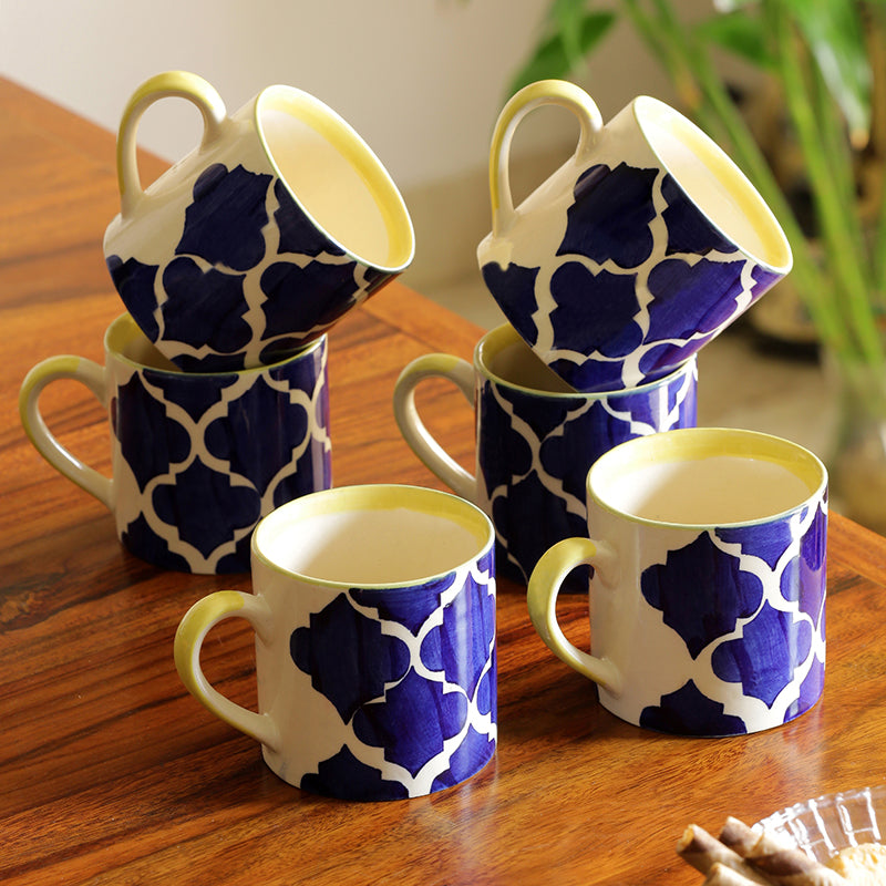 'Ocean Caffeine Hangouts' Handpainted Tea & Coffee Cups In Ceramic (Set Of 6)