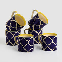 Load image into Gallery viewer, 'Ocean Caffeine Hangouts' Handpainted Tea & Coffee Cups In Ceramic (Set Of 6)