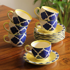 'A Mediterranean High-Tea' Handpainted Cup & Saucer In Ceramic (Set Of 6)