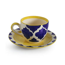 Load image into Gallery viewer, 'A Mediterranean High-Tea' Handpainted Cup & Saucer In Ceramic (Set Of 6)