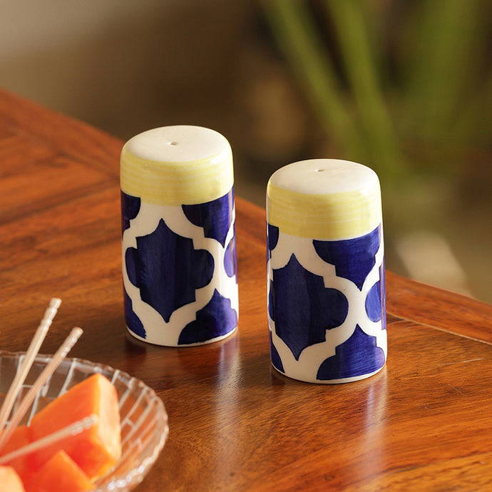 'Shakers' Patterns' Handpainted Salt & Pepper Shaker Set In Ceramic