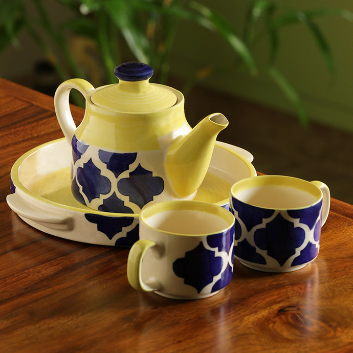 'Sea-Tea' Handpainted Tea Cups & Kettle Set With Tray In Ceramic