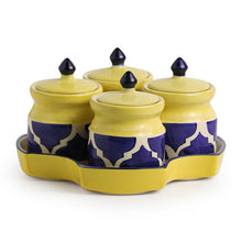 Load image into Gallery viewer, 'Pickles-Fours' Handpainted Ceramic Pickle & Chutney Jars (Set Of 4)