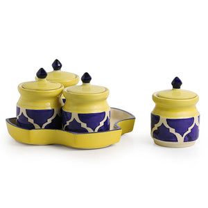 'Pickles-Fours' Handpainted Ceramic Pickle & Chutney Jars (Set Of 4)