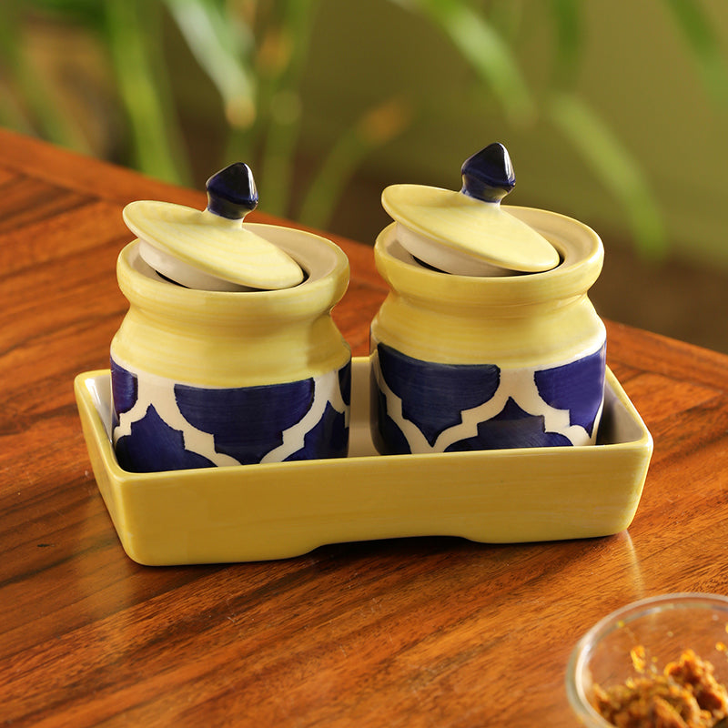'Pickled-Coupled' Handpainted Ceramic Pickle & Chutney Jars (Set Of 2)