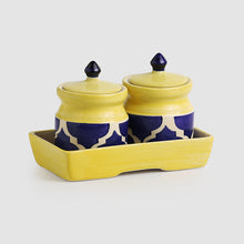 Load image into Gallery viewer, 'Pickled-Coupled' Handpainted Ceramic Pickle & Chutney Jars (Set Of 2)