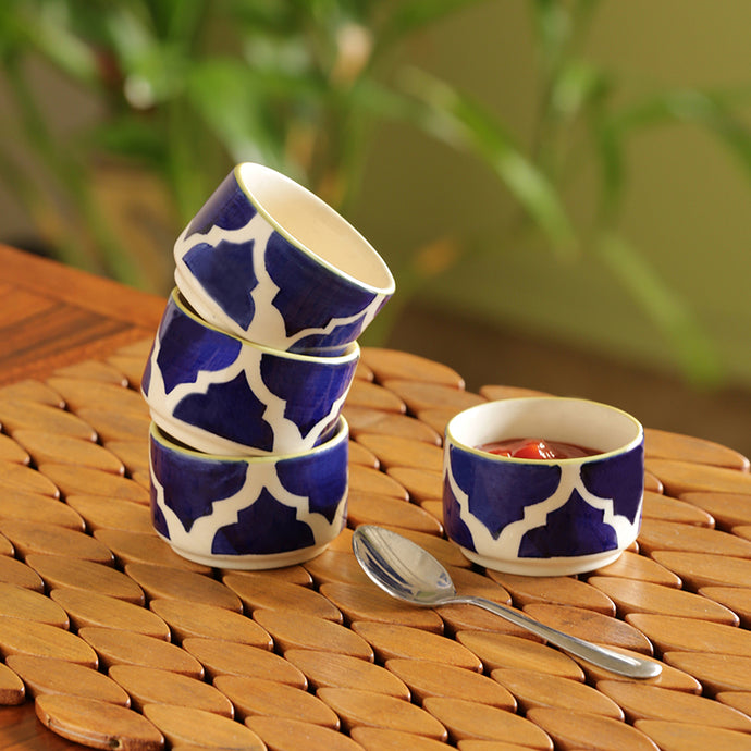 'Four dips of Morocco' Handpainted Chutney & Pickle Bowls In Ceramic (Set Of 4)