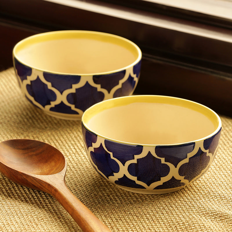 'Two Mediterranean Bowls' Handpainted Serving Bowls In Ceramic (Set Of 2)