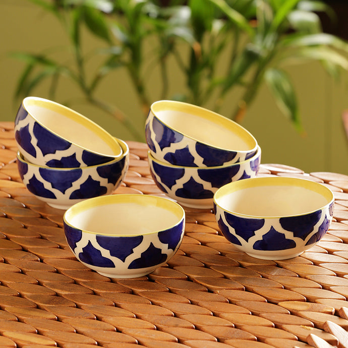 'Six Mediterranean Bowls' Handpainted Serving Bowls In Ceramic (Set Of 6)