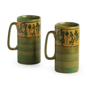 'Drink Two Glory' Handpainted Beer & Milk Mugs In Ceramic (Set Of 2)