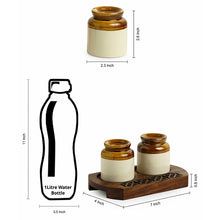 Load image into Gallery viewer, Old Fashioned Martban Ceramic Salt & Pepper Shaker Set With Sheesham Wooden Hand Carved Tray